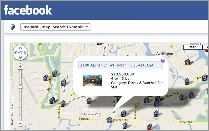 Map-based Property Search Facebook Application